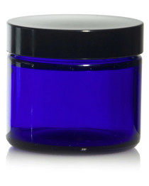 1oz Cobalt BLUE GLASS Jar Straight Sided w/ Plastic Lined Caps - pack of 12