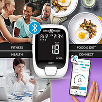 KETO-MOJO GK+ Blood Glucose & Ketone Testing Kit + Free APP for Diabetes Management & Ketosis. Includes: Bluetooth Meter, 20 Test Strips (10 Each), 20 Lancets, Lancing Device, Control Solutions