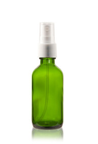 2 oz Green Boston Round Glass Bottle w/ White Fine Mist Sprayer