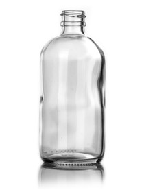 16 oz CLEAR glass boston round bottle with 28-400 neck finish with Black Pump