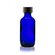 2 oz Cobalt BLUE Boston Round Glass Bottle with Poly Seal Cone Cap