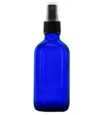 8 oz BLUE Boston Round Glass Bottle - w/ Black Fine Mist Sprayer