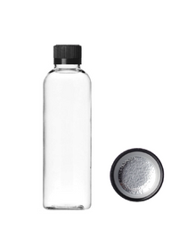 2 oz clear PET imperial round bottle with 20-410 neck finish - w/ Black PP 20-400 child-resistant lid
