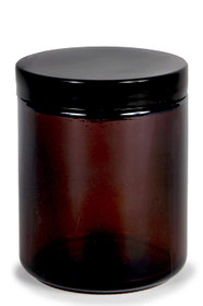 8 oz AMBER GLASS Jar Straight Sided w/ Black Plastic smooth Cap - pack of 6