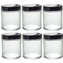 8 oz CLEAR GLASS Jar Straight Sided w/ Black Plastic Lined Cap - pack of 6