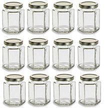 Hexagon Glass Jars, 6 oz - Pack of 12