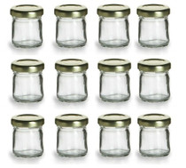 12 pcs , 1.5 oz Mini Glass Jars for Jam, Honey, Wedding Favors, Shower Favors, Baby Foods, DIY Magnetic Spice