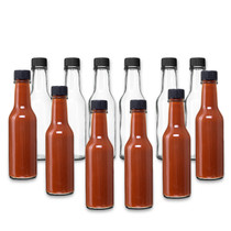 5 oz clear glass woozy sauce bottle with 24-414 neck finish - pack of 12