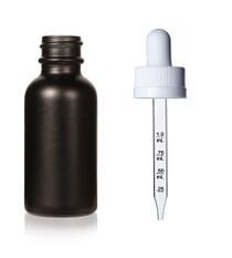 1 oz Specialty Volcanic Black Boston Round w/ White Child Resistant Monprene Dropper with Calibration