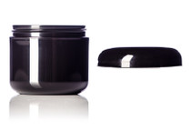 2 oz Black PP/PS double wall round base jar with 58-400 neck finish w/ Black PP 58-400 unlined dome lid