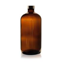 32 oz AMBER Boston Round Glass Bottle - w/ Poly Seal Cone Cap