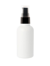1 Oz Matt White Glass Bottle w/ Black Treatment Pump