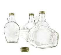8 Ounce, 12 Pack, Empty Glass Syrup Bottles For Canning, with Gold Metal Lids, Glass Maple Syrup Bottles