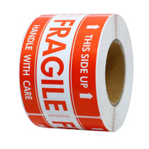 Fragile Stickers 1000 labels - This Side Up - 3 x 5 Inches - Handling Labels (2 Rolls, 500/roll)