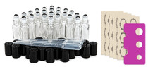 24 pcs, 10ml Clear Glass Roller Bottles with Stainless Steel Roller Ball for Essential Oil
