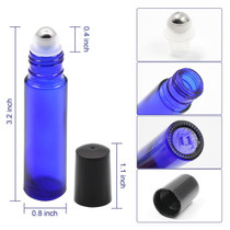 12 pcs, 10ml Clear Glass Roller Bottles with Stainless Steel Roller Ball for Essential Oil