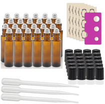 24 pcs, 10ml Amber Glass Roller Bottles with Stainless Steel Roller Ball for Essential Oil - Includes 24 Pieces Labels, Essential Oils Opener, 3 Droppers (24pc Amber Set)