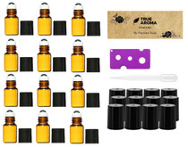 Premium Vials,12pcs, Amber, 3 ml Glass Roll-on Bottles with Stainless Steel Roller Balls - 1 Dropper and 1 Opener included, Refillable Aromatherapy Essential Oil Roll On