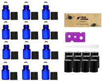 Premium Vials,12pcs, Cobalt Blue, 3 ml Glass Roll-on Bottles with Stainless Steel Roller Balls - 1 Dropper and 1 Opener included, Refillable Aromatherapy Essential Oil Roll On