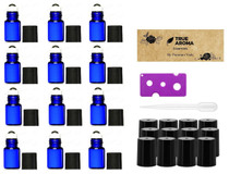 Premium Vials,12pcs, Cobalt Blue, 2 ml Glass Roll-on Bottles with Stainless Steel Roller Balls - 1 Dropper and 1 Opener included, Refillable Aromatherapy Essential Oil Roll On