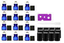 12 pcs, Cobalt Blue, 1ml Glass Roll-on Bottles with Stainless Steel Roller Balls (12 piece Set)