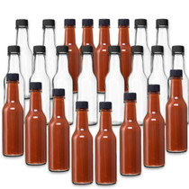5 oz, Glass Woozy Hot Sauce Bottles - Case of 24 with Screw Caps, Inserts & Shrink Capsules