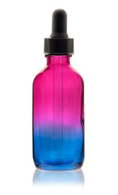 2 Oz Specialty Multi Fade Cosmic Cranberry and Teal blue Boston Round w/ Black Regular Dropper