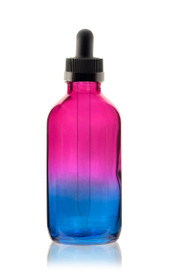 2 Oz Specialty Multi Fade Cosmic Cranberry and Teal blue Boston Round w/ Black Child Resistant Dropper