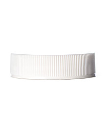 White PP 38-400 ribbed skirt lid with universal heat induction seal (HIS) liner