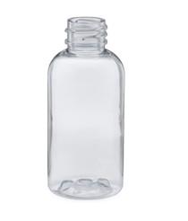 2 oz Clear Plastic PET Boston Round Bottle - 20-410 neck finish