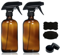 16oz (2 Pack) Empty AMBER Glass Spray Bottles with Poly Cone Caps & Labels