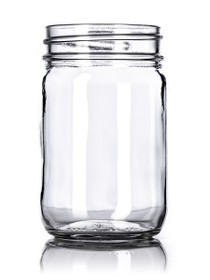 12 oz clear glass Mason jar with 70-450G neck finish with SILVER metal with standard plastisol liner