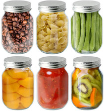 16 oz clear glass Mason jar with SILVER metal with plastisol liner - pack of 12