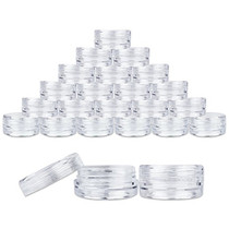 50 New, 3 Gram Plastic Pot Jars, High Quality, Empty, Clear, Cosmetic Containers, With CLEAR Lids