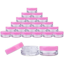 50 New, 3 Gram Plastic Pot Jars, High Quality, Empty, Clear, Cosmetic Containers, With PINK Lids. (J3GPL)