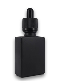 1 oz Matt BLACK SQUARE Glass Bottle w/ Black Child Resistant Tamper Evident Glass Dropper