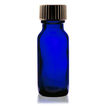 1/2 oz (15ml) Cobalt Blue Boston Round Glass Bottle - w/ Poly Seal Cone Cap