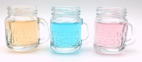 2 Oz Mason Jar Shot Glasses With Handles And Silver Lids Set Of 8