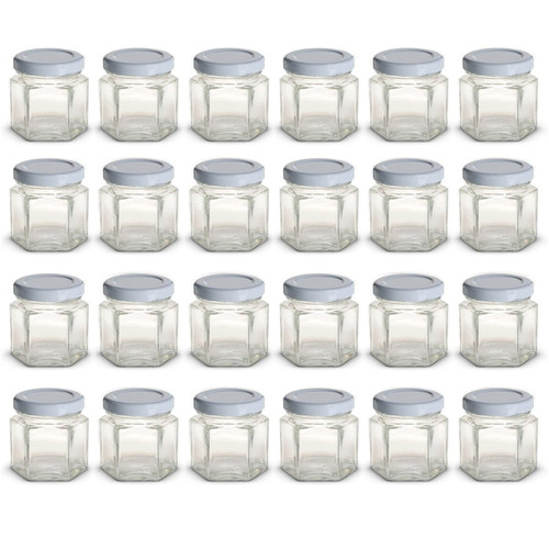 1.5 oz Mini Hexagon Glass Jars with WHITE Lids with Labels, Pack of 24