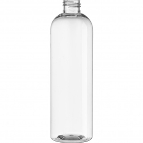 12 oz clear PET cosmo round bottle with 24-410 neck finish