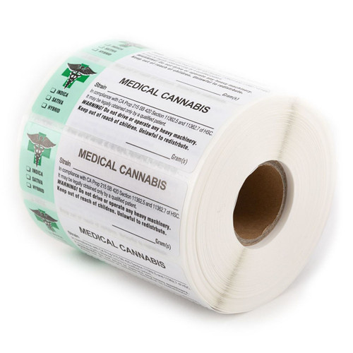 1000 pcs, California Medical  Labels ROLL State Compliant Sticker - Set of 2