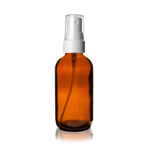 4 oz AMBER Glass Bottle w/ White Smooth Fine Mist Sprayer