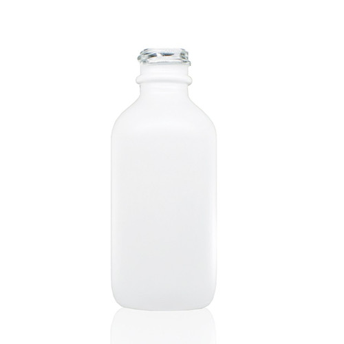 2 oz Matt White -colored clear glass bottle with 20-400 neck finish