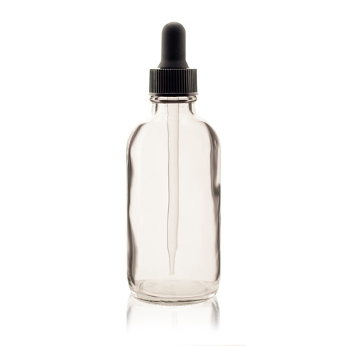 4 oz Boston Round Glass Bottle Clear - w/Glass Dropper