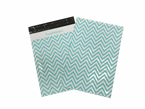 """10""""x 13"""" Poly Mailer White Teal Zic Zac Bag , pack of 100"""