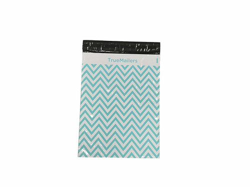 """6""""x 9"""" Poly Mailer White Teal Zic Zac Bag , pack of 100"""