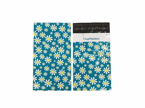 """6""""x 9"""" Poly Mailer Yellow and Teal Flowers 2 Colors"""