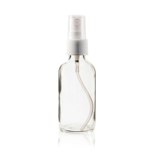 Boston Round Bottle 2 oz Clear - w/White Fine Mist Sprayer