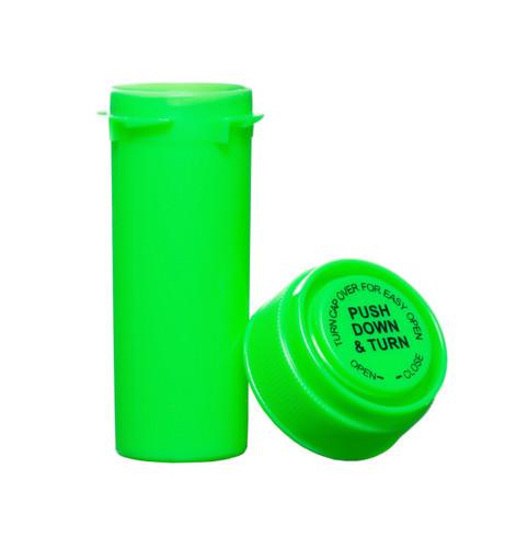 8 Dram Push & Turn Reverse Cap Bottles - 410/ Case - Green