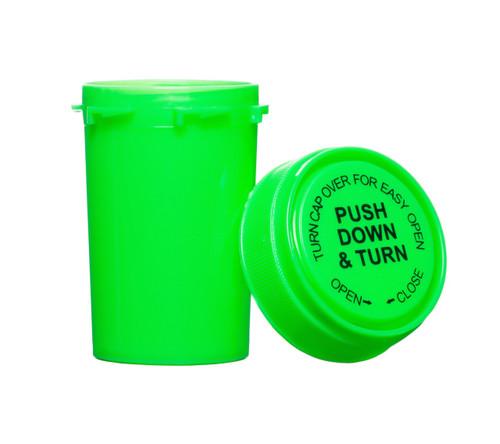 20 Dram Push & Turn Reverse Cap Bottles - 240/ Case - Green
